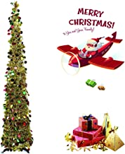 Pop Up Christmas Tree 5 Foot Collapsible Christmas Tree, Artificial Tinsel Multicolored Pencil Sequin for Holiday, Small Spaces Apartment, Party, Home, Office, Christmas Decorations(Gold colorful)