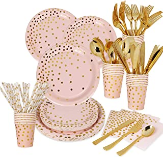 200 Pieces Pink Rose Gold Disposable Party Set Serves 25 Guests Paper Plates Cups Cutleries Tableware for Wedding, Oh Baby...