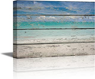 wall26 - Canvas Prints Wall Art - Tropical Beach on Vintage Wood Background Rustic Home Decoration - 32