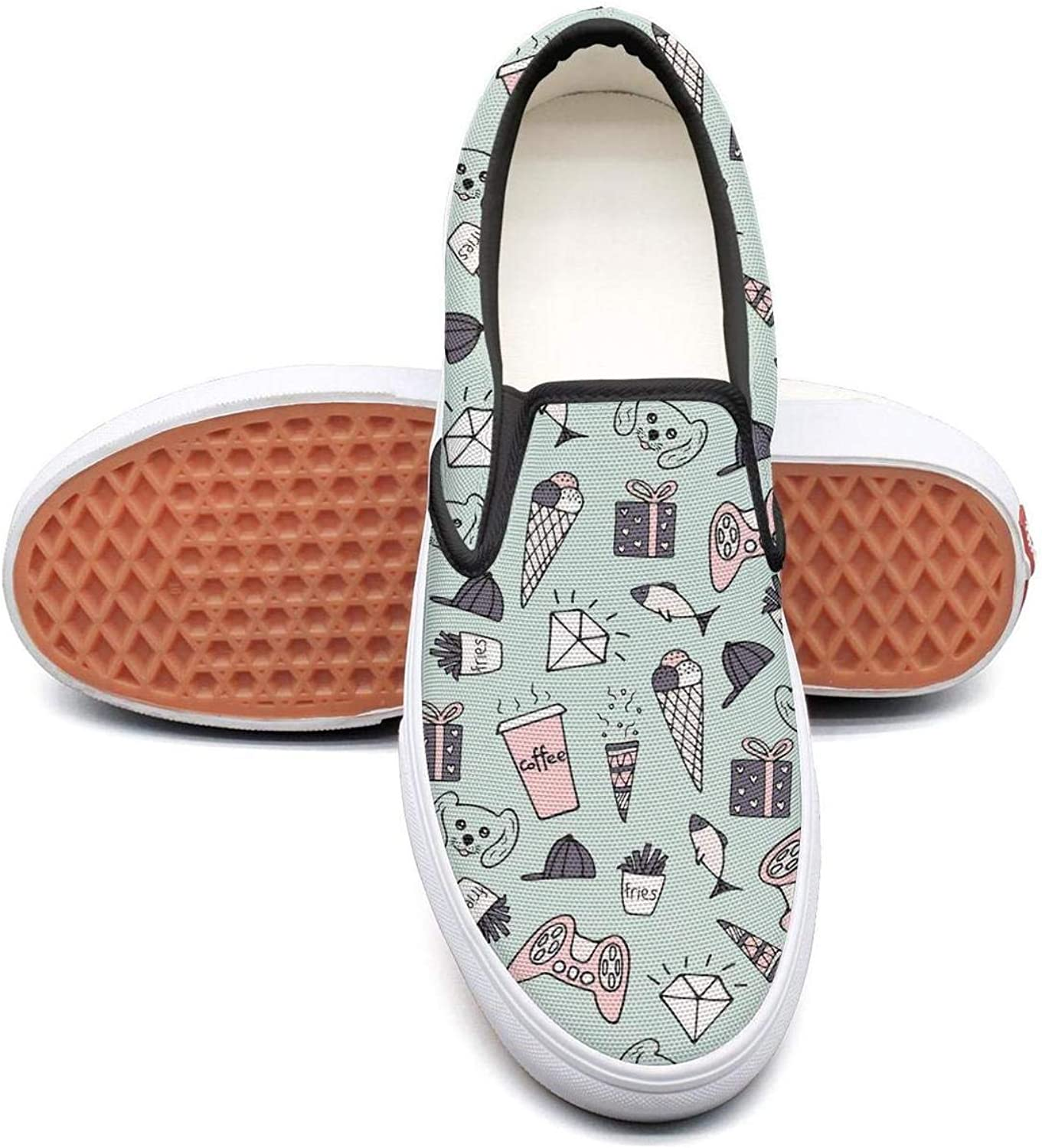 Doodle Ice Cream Diamond Slip On Canvas Upper Loafers Canvas shoes for Women Round Toe