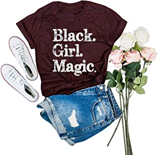 IRISGOD Womens Black Girl Magic T Shirt Summer Cute Short Sleeve Juniors Graphic Tees Tshirts