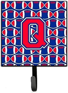 Caroline's Treasures Letter Q Football Harvard Crimson and Yale Blue Leash or Key Holder CJ1076-QSH4 Small Multicolor