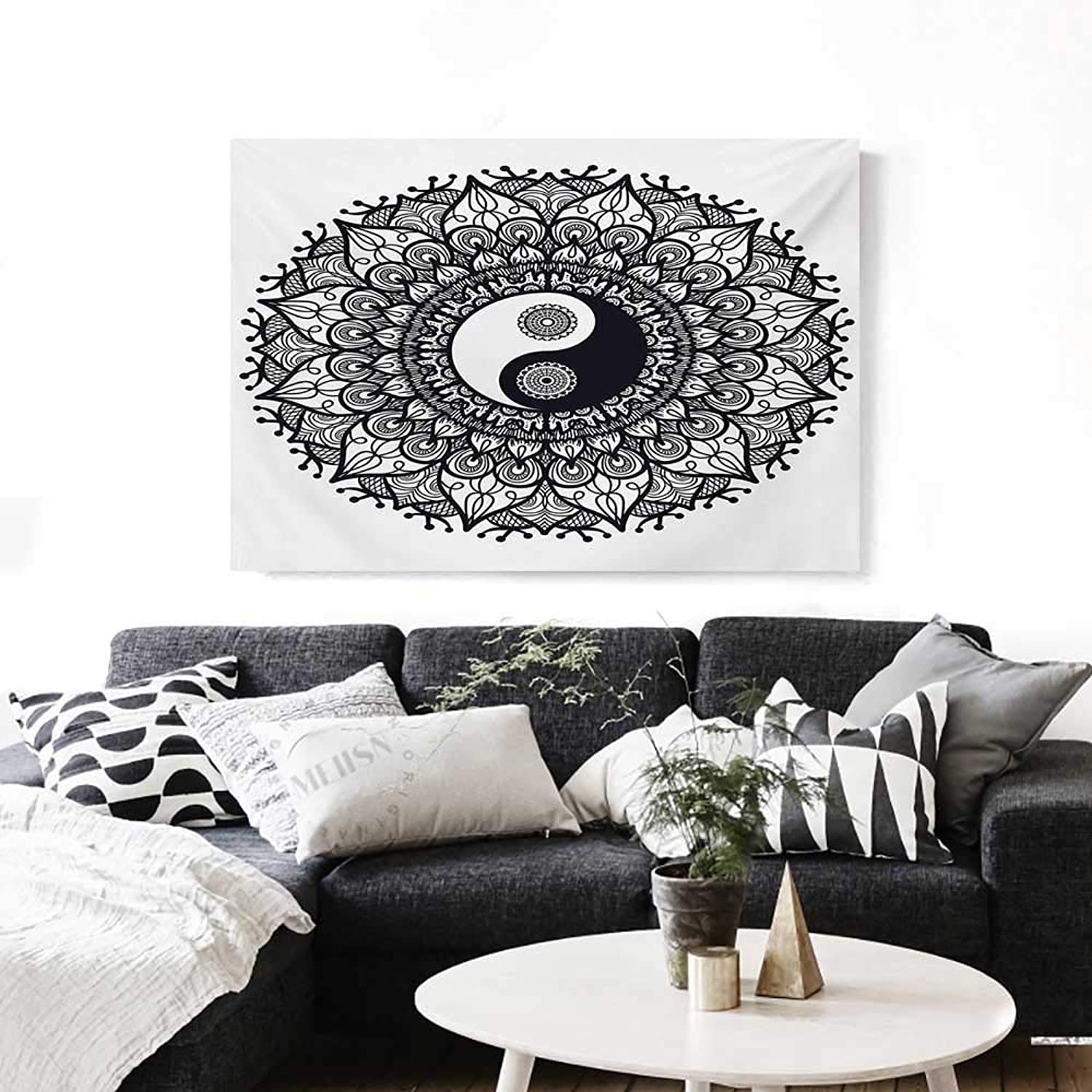 BlountDecor Ying Yang Canvas Wall Art for Bedroom Home Decorations Bohemian Style Tao Symbol in Floral Mandala Design Mehndi Ethnic Asian Art Stickers 48 x32  Charcoal Grey White