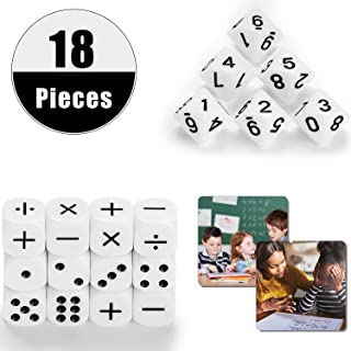 18 Pieces Teaching Dice Set, Include Math Operation Dice, Number Dice and Dot Dice for Math Teaching Classroom Supplies