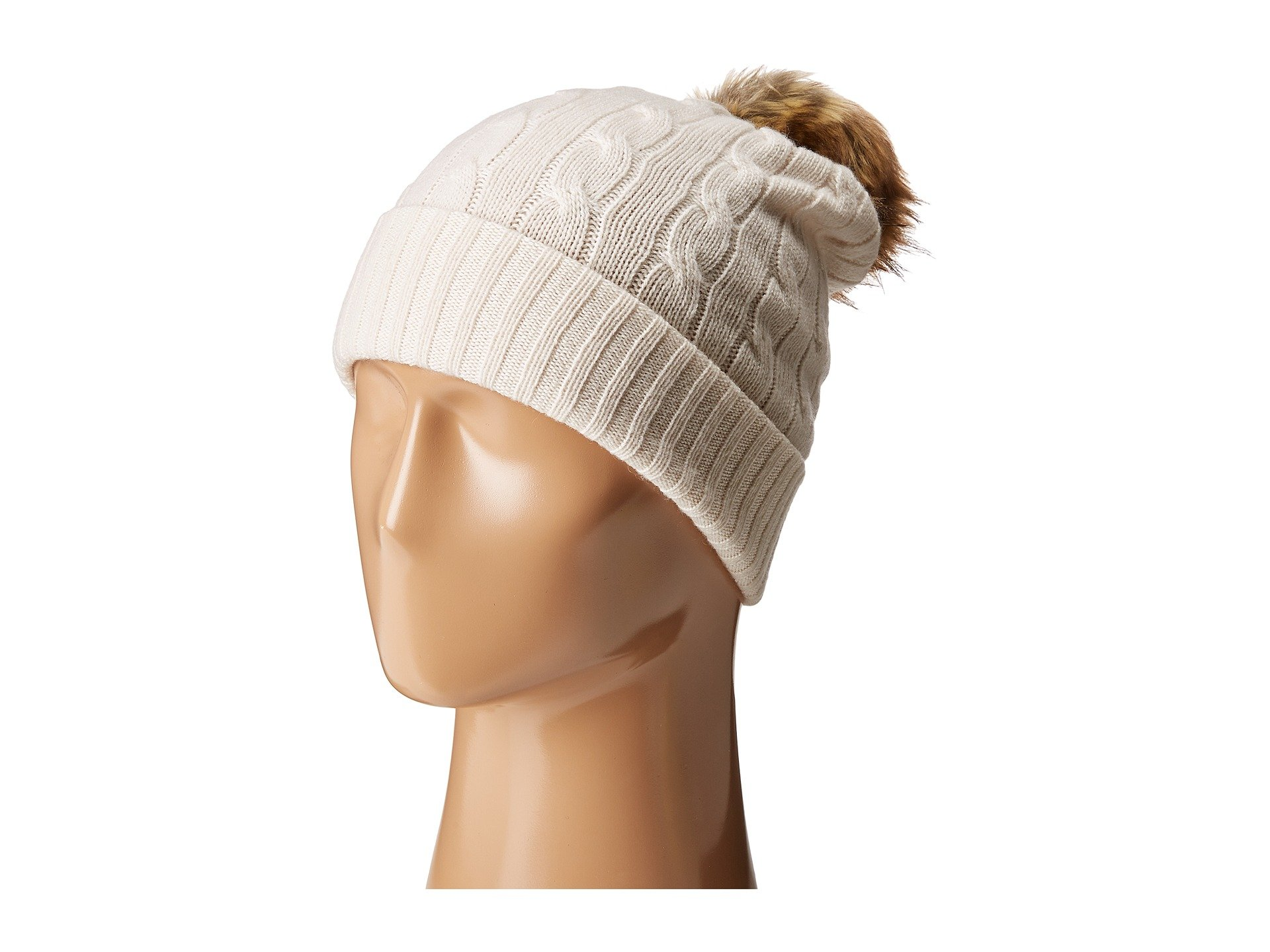 Polo Ralph Lauren Cashmere Classic Cuff Hat With Faux Fur Pom In Heritage  Cream 80b3d1772