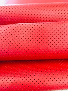 LUVFABRICS Fully Perforated Holes Marine Grade Upholstery Hospitality Automotive Faux Leather Vinyl Fabric (RED RED RED)