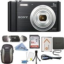 Sony W800/B DSC-W800/B DSCW800B Cámara digital de 20 MP Zoom óptico 5X (Negro) Paquete con tarjeta de memoria SDHC de 64 GB, trípode de mesa, funda Deluxe y paño de microfibra para lentes