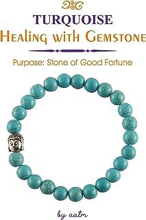 Aatm Natural Healing Gemstone Buddha Charm Bracelet (Turquoise)