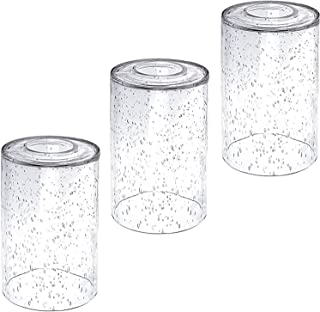 3-Pack Seeded Glass Shade Covers with 1.65-Inch Fitter, 5.7-Inch Height and 3.9-Inch Diameter, Clear Cylinder Bubble Glass...