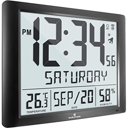 Marathon Slim Atomic Full Calendar Clock with Large 3.25 Digits CL030067WD Wood Grain Finish Batteries Included Indoor Temperature and Humidity