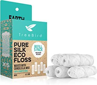 Compostable Dental Floss Refills | Pack of 5 x 33yds Organic Peace Silk Spools | For a Refillable Glass & Stainless Steel ...