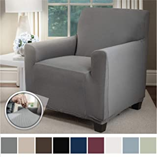 Sofa Shield Original Fitted 1 Piece Chair Protector, Seat Width up to 23 Inch, Stretch Furniture Slipcover, Fastener Straps, Spandex Chair Slip Cover Throw for Pets, Dogs, Armchair, Gray