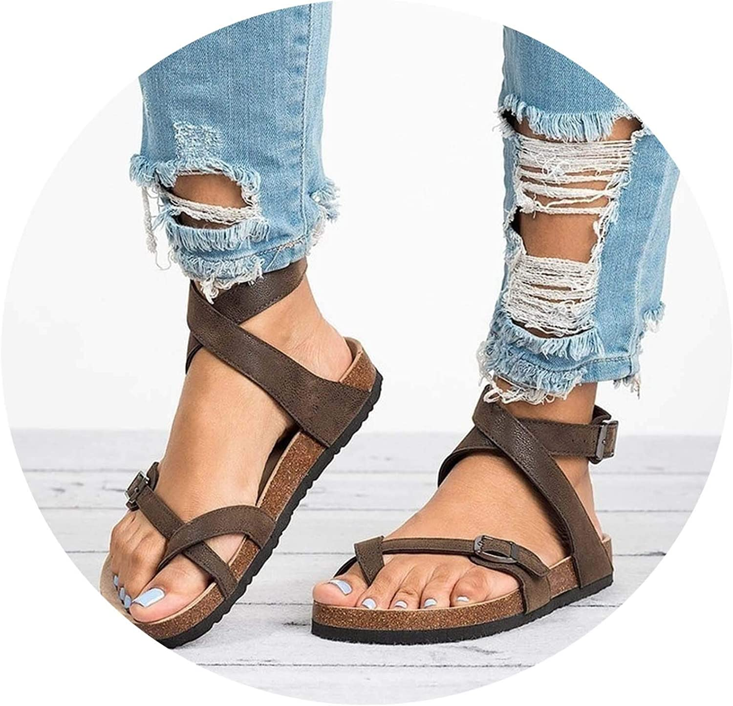Women Sandals 2019 New Summer Leather Sandals Flip Flop Flat Sandals Casual Beach shoes Ladies 43,Brown,10