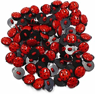 MAXGOODS 100 Pieces Cute Cartoon Ladybug Shaped Buttons Handmade Tag Embellishments Ornaments Craft Decorations for Sew Accessories Scrapbooking Clothing Leather (Red)