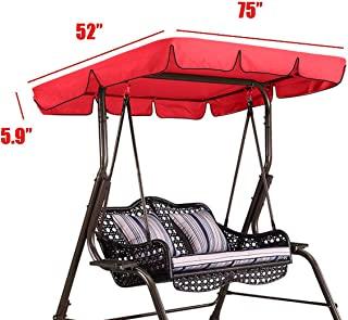 Essort Swing Canopy, 2 to 3 Seaters Waterproof Anti-UV Swing Top Cover Canopy Replacement for Outdoor Porch Patio Swing and Garden Hammock, 75'' × 52'' × 5.9'' Red