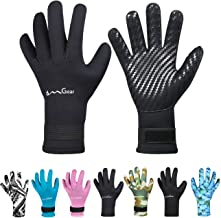 OMGear Neoprene Gloves Diving Wetsuit Gloves 3mm 5mm Glued Anti-Slip Flexible Thermal with Adjustable Waist Strap for Snorkeling Scuba Diving Surfing Kayaking Rafting Spearfishing Sailing