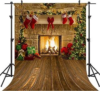 OUYIDA CEM15 Hintergrund für Fotografie, Baum, Socken, Geschenk, Dekorationen für Weihnachten, Party, Zubehör, Vinyl, Fotoautomaten Hintergrund, farblos, 8X8FT