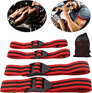 Yaegoo Occlusion Bands,4 Pack (2 Bicep Bands,2 Leg Bands), Comfortable Elastic Bands for Blood Flow Restriction Training and Fast Muscle Growth Without Lifting Heavy Weights