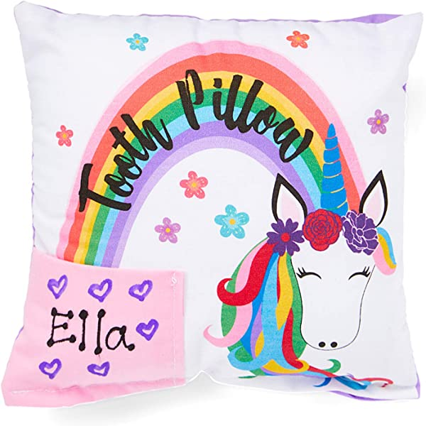 Personalized Rainbow Mane Unicorn Tooth Fairy Pillow