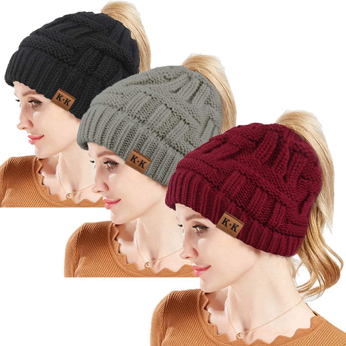 Ponytail Beanie Hat - Women Knit Winter Hat Stretch Ponytail Beanie Hat Messy Bun BeanieTail Cable Knit Slouchy Warm Hat