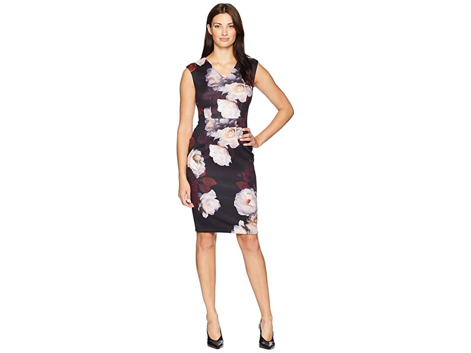Calvin Klein Floral V-Neck Sheath Dress CD8M38AV (Persimmon Multi) Women