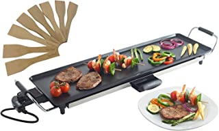 VonShef 220 240 Volts Electric Griddle XL Teppanyaki Style Barbecue Table Grill Griddle W/ Adjustable Temperature & 8 Spatulas Control 2000 Watts | Bundled W/ Dynastar Plug Adapters | 220v 240v (NOT FOR USA)
