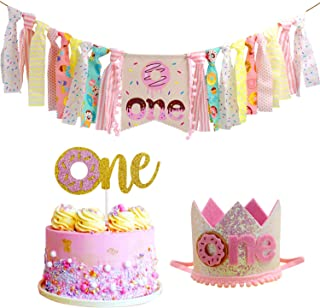 Donut High Chair Banner for 1st Birthday Party Decorations - Photo Booth Props, Birthday Gifts and Souvenir for First Baby Girl