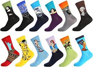 Bonangel Men`s Fun Dress Socks-Colorful Funny Novelty Crew Socks Pack,Art Socks