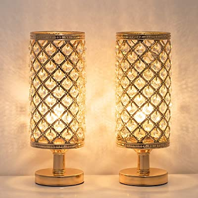 Bedside Lamps Set of 2, Crystal Table Lamp with Clear Crystal Beads Lampshade and Metal Base Elegant Decorative, Nightstand Desk Lamp for Bedroom, Living Room - Gold