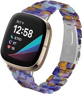 Jennyfly Bracelet compatible avec Fitbit Versa 3, bracelet de montre en résine léger avec boucle en acier inoxydable régla...