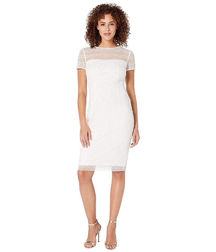 Adrianna Papell Beaded Illusion Cocktail Dress (Ivory) Women
