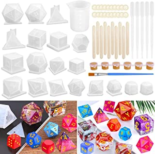 Resin Dice Molds, Shynek 19 Styles Polyhedral Game Dice Molds Set with Silicone Dice Mold, Mixing Sticks, Measuring Cup, D...