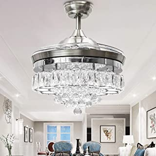 Huston Fan 42 Inch Polished Silver Modern Crystal Chandelier Ceiling Fan with Light 4 Retractable Blades for Indoor Room LED Lighting Remote Invisible Quiet Fandelier 3 Color Changing