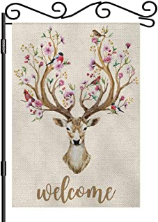 AOYEGO Deer Welcome Garden Flag Small Vertical Double Sided 12.5 x 18 Inch Watercolor Deer Big Antlers Flowers and Birds o...
