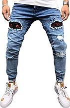 Lelloing jeans elásticos rasgados para hombre, de color só