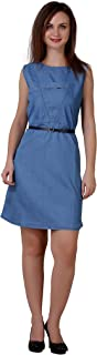C.Cozami Women's Solid Casual Denim Light Blue/Dark Blue Dress