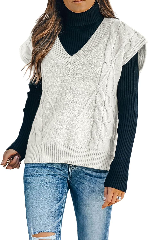 Astylish Women Sweater Vest Sleeveless V-Neck Solid Color Casual Oversized Knit Vest