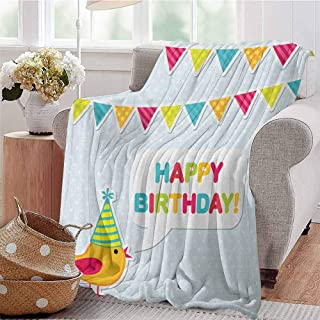 SONGDAYONE Throw Blanket Kids Birthday Daily use Two Row Party Flag Cartoon Bird Happy Birthday Quote Image Artwork Print W54 x L84 Multicolor