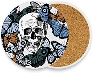 Sugar Skull Coasters, Prevent Furniture from Dirty and Scratched, Round Wood Coasters Set Suitable for Kinds of Mugs and Cups, Living Room Decorations Gift 1 piece