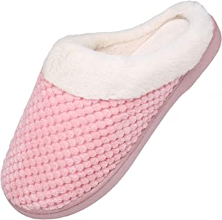 Mishansha Men's Women's Memory Foam Slippers Plush Fleece Lined House Slippers