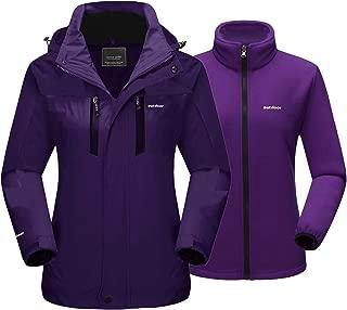 Women's 3-in-1 Winter Ski Jacket with Detachable Hood Water Resistant Fleece Liner Snowboard Jacket