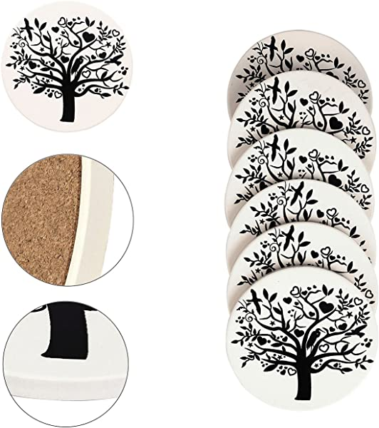 Absorbent Drink Coaster Yoption Set Of 6 Absorbent Tree Of Life Coaster With Cork Backing For Drinks Desktop Protection Prevent Furniture Damage Table Decorations Cup Mat Holder Tree Of Life Round