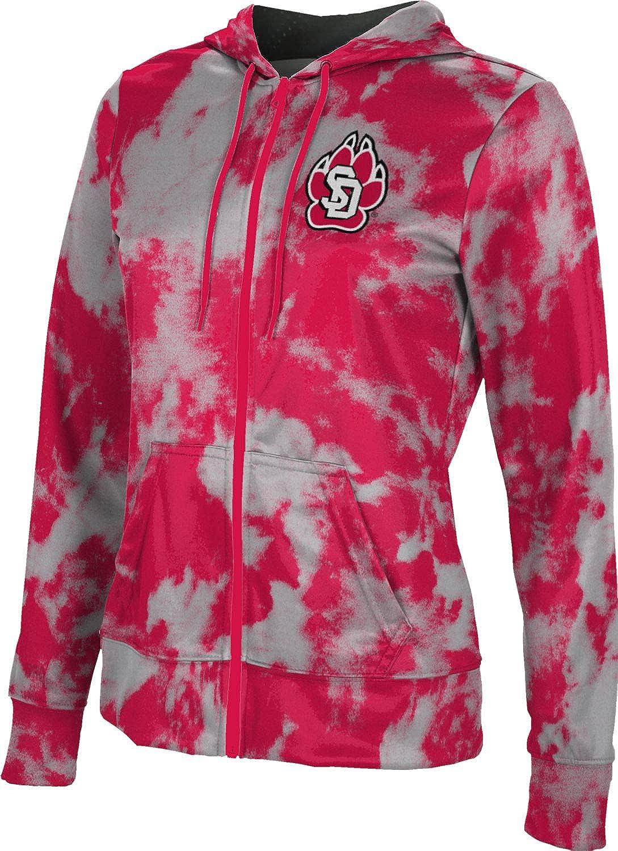 University of South Dakota Girls' Zipper Hoodie, School Spirit Sweatshirt (Grunge)