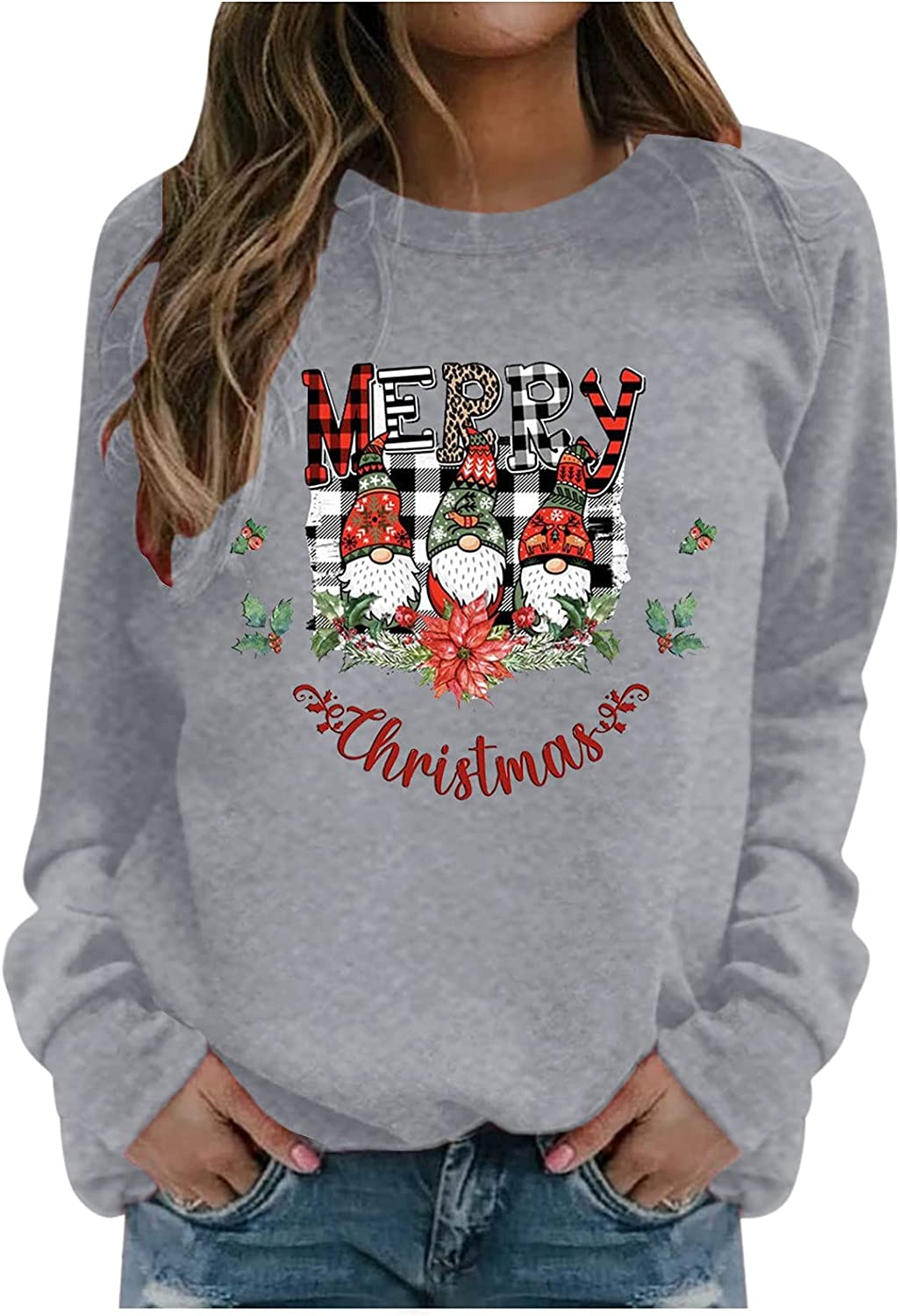 Christmas Gnome Shirts for Women Plus Size Crewneck Pullover Graphic Tshirt Loose Casual Holiday Fall Tops Sweatshirts