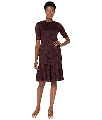 Maggy London Two-Tone Rose Stretch Fit and Flare Cocktail Dress (Burgundy) Women