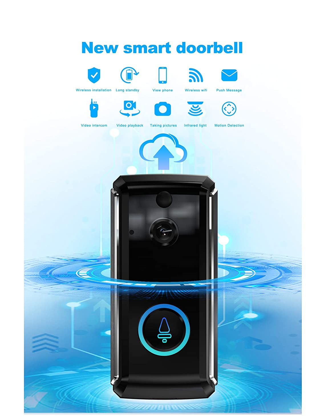 Wireless Video Doorbell WiFi Doorbell Camera Intercom Security System 1280 x 720HD Smart Doorbell for iOS & Android, Real-Time Two-Way Audio, 166 Degree Viewing Angle, PIR Motion Detection (Black)