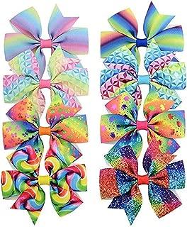 Vaycally Broches para el cabello a presión antideslizantes, sombreros de moda para niñas Pinzas para el cabello con arco iris gradual colorido 8 piezas/bolsa Sombreros de moda para mujer horquilla