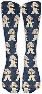 Hunter qiang, Goldendoodle Dogs Mid Calf Crew Socks - Calcetines para botas, 50 cm de largo