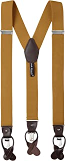 Jacob Alexander Men's Solid Y-Back Suspenders Braces Convertible Leather Ends Clips
