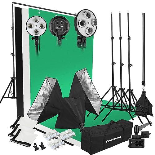 Excelvan Kit Éclairage Studio Photo 2000W 5500K 3* Softbox + 3* Têtes d'éclairage à 4 Sockets + 3* Trépied + 12* Ampoule + Kit de Bras Girafe + Kit de Fond